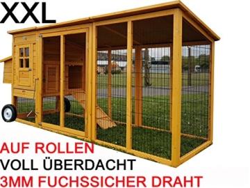 Eggshell Buckingham Hühnerstall mit Laufgehege auf Rollen, schützt vor Füchsen, tragbar, geschweißter/beschichteter 3-mm-Draht, Deckel lässt sich öffnen, mit Nistkasten, für 2-4 Hühner, Größe XXL, 250 cm JETZT MIT VOELLIG UEBERDACHTEN SOMMER/WINNTER STALL - 1