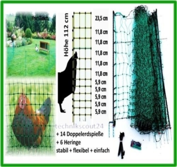 grüner Gartenzaun 50 m x 112 cm Hühnerzaun + 14 Pfähle Hühner-Zaun Geflügelzaun Garten - 7